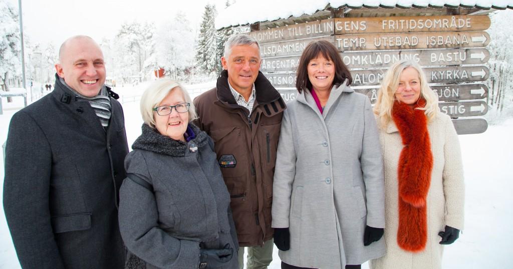 Konsulten Silvester Jellinek (i mitten) förhandlade fram avtalet med Skövdes kommunledning: Leif Walterum (C), Ulla-Britt Hagström (L), Katarina Jonsson (M) och Marianne Gustafson (KD). Foto från januari 2016 då satsningen offentliggjordes.