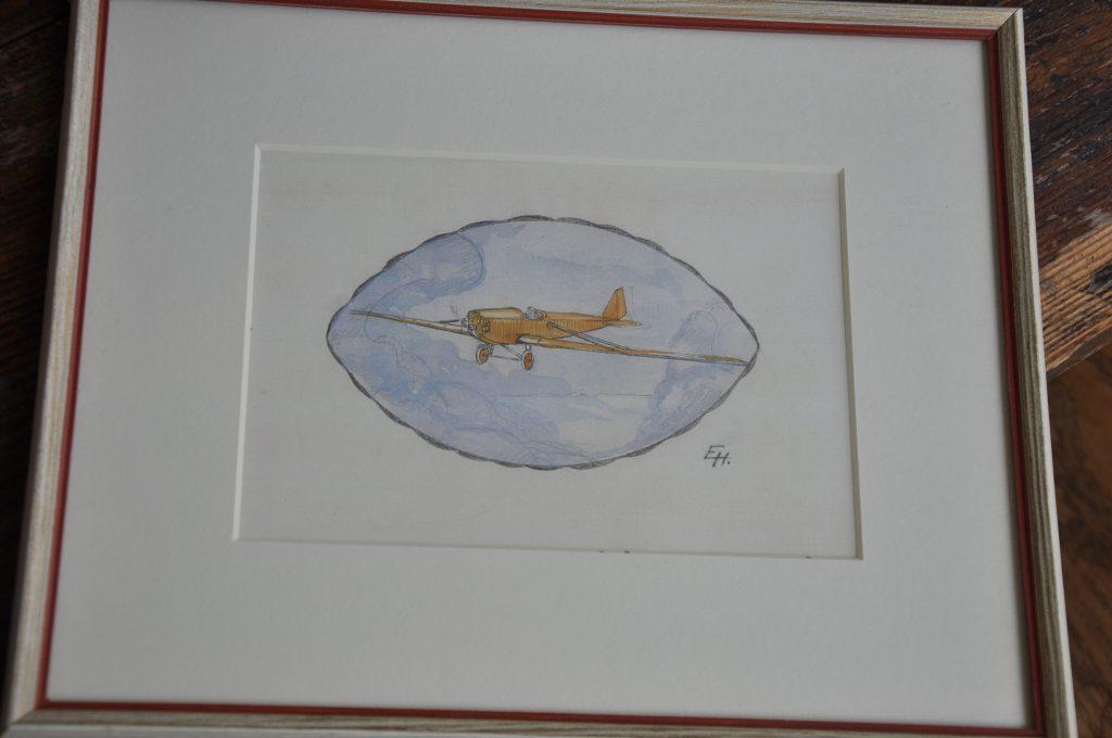 Även om han inte längre gjorde några flygplan, så ritade Erik Hallberg sådana. En akvarell från 1946.
