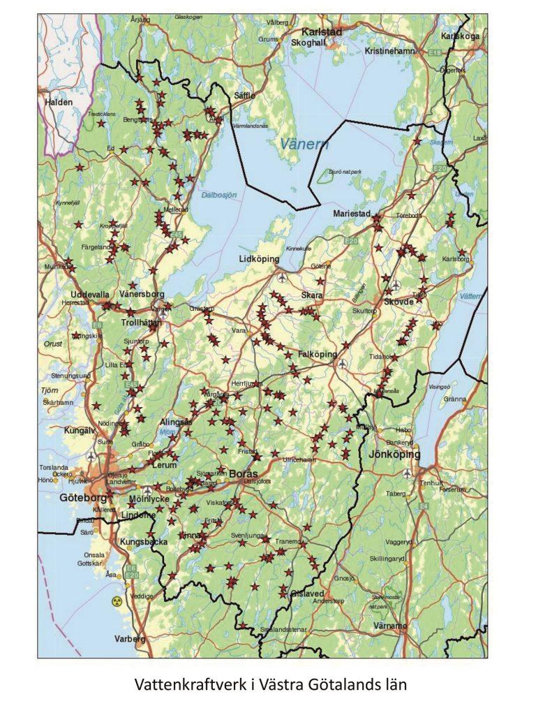 I Västra Götalands län finns cirka 900 dammar och 300 vattenkraftverk. Kartan visar vattenkraftverken i Västra Götaland.  Källa: Länsstyrelsen Västra Götaland