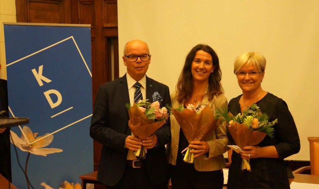 Kristdemokraternas lokala toppkandidater valet 2018 utsågs på lördagen. Regionlistan toppas av Conny Brännberg, Skövde, och Isabella Carlén, Götene. Till höger Annika Eclund, Tibro, som är partiets kandidat till riksdagen - efter partiledaren som toppar listan i Skaraborg.