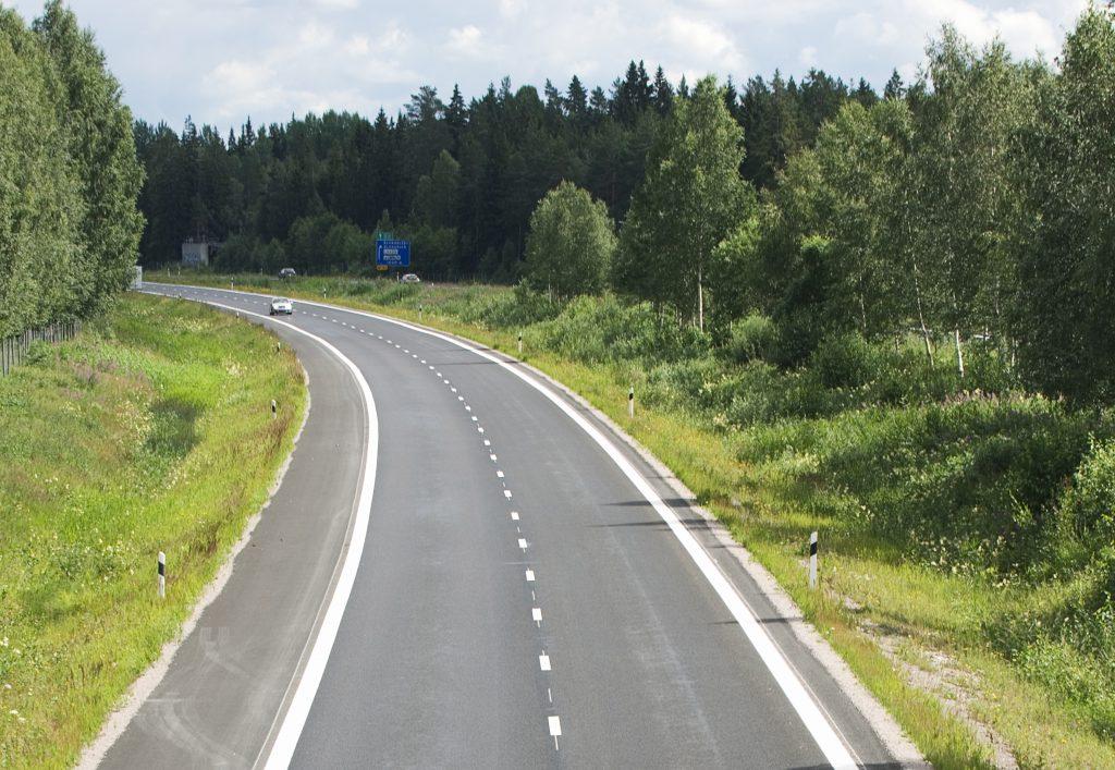 Norrgående filen på motorvägen söder om Gävle.