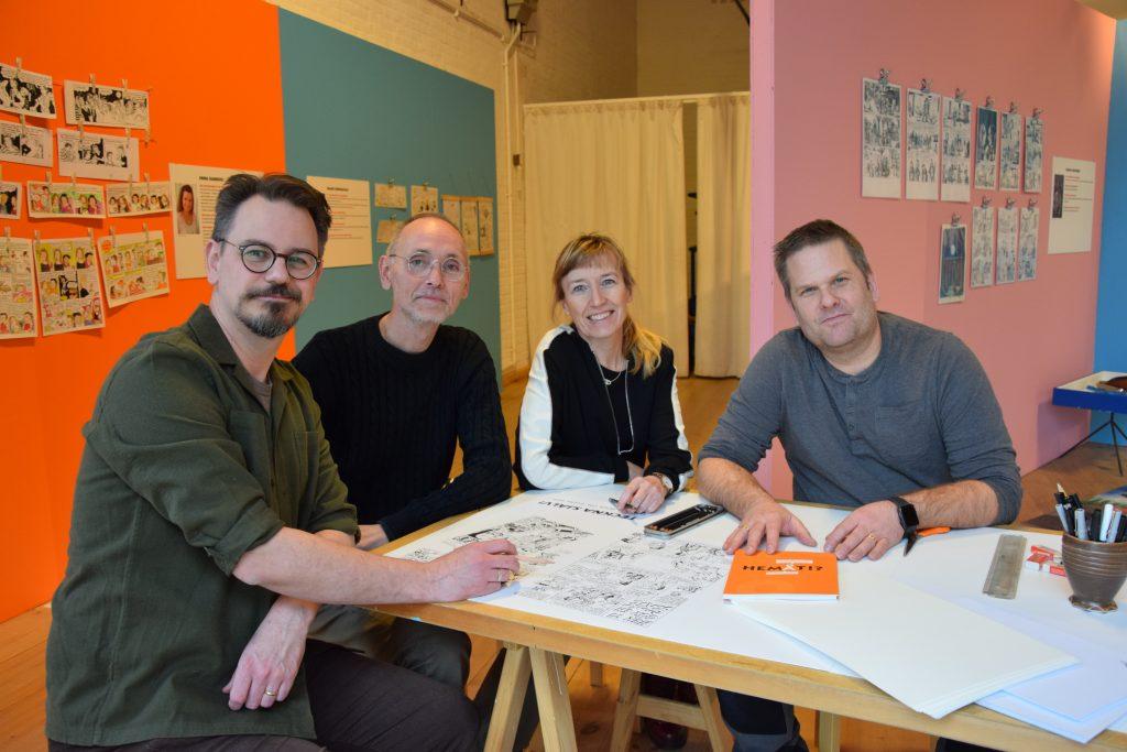 Jonas Andersson, Nicolas Krizan, Christina Jonsson och Patric Nyström är fyra av de totalt 16 serieskapare som ligger bakom utställningen.