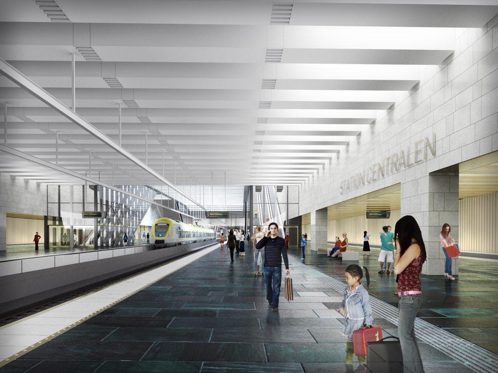 Den nya tågstationen vid Centralen i Göteborg är en del av den västsvenska tågsatsningen Västlänken. Illustration: Metro arkitekter