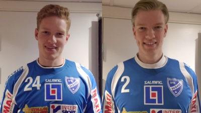De två unga danskarna Jacob Larsén (till vänster) och Casper Ebbesen blir nya i IFK Skövde kommande säsong.