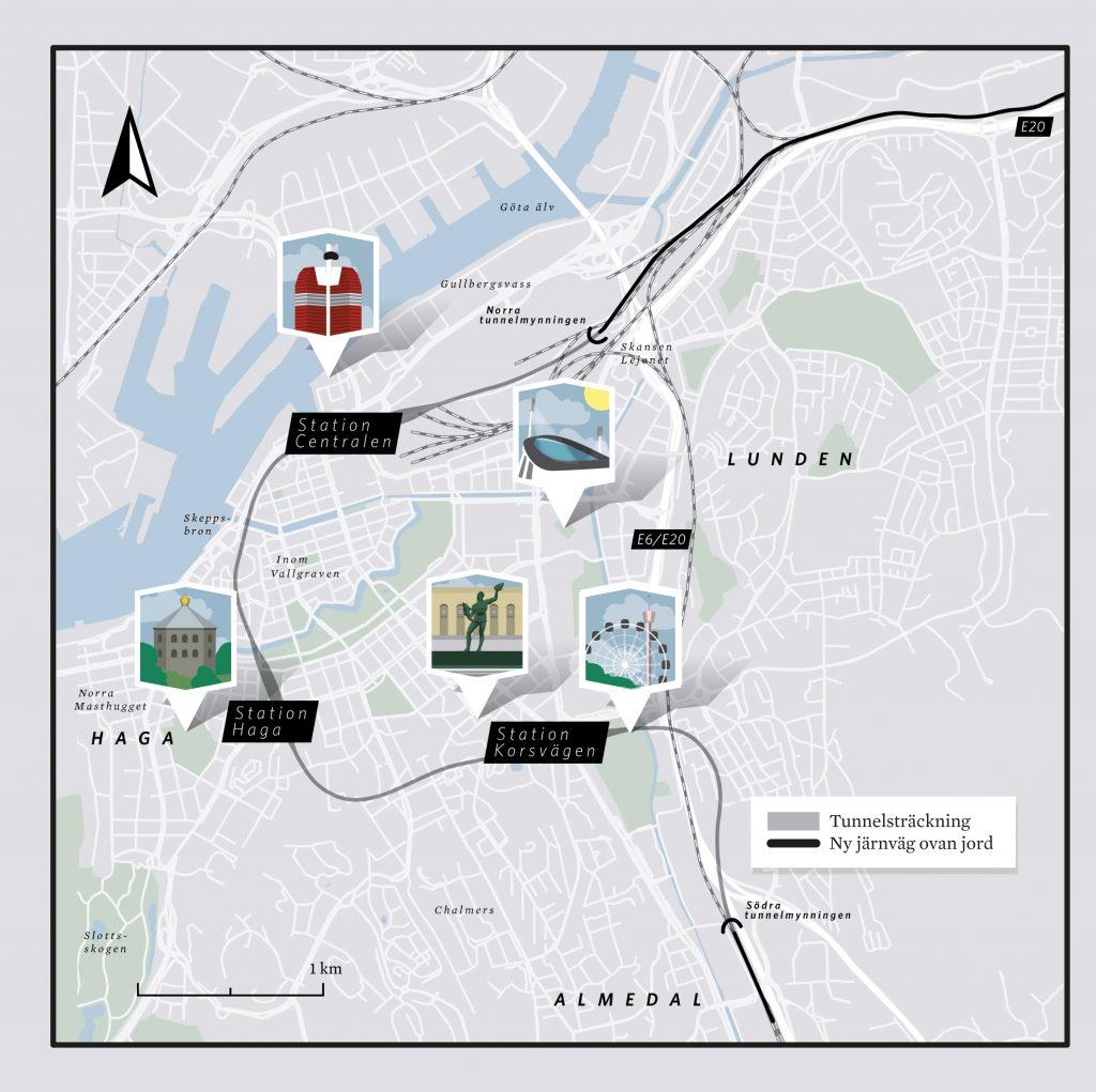Västlänken kommer byggas under Göteborg och ger möjlighet till genomgående trafik och tre stationer.